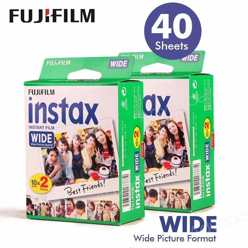 40 Films Fujifilm Instax Wide Instant White Edge For Fuji Camera 100 200 210 300 500AF Lomography photo fujifilm instax mini 8 camera fuji instant film photo camera 100pcs sheets fuji instax mini white films 3 inch photo paper