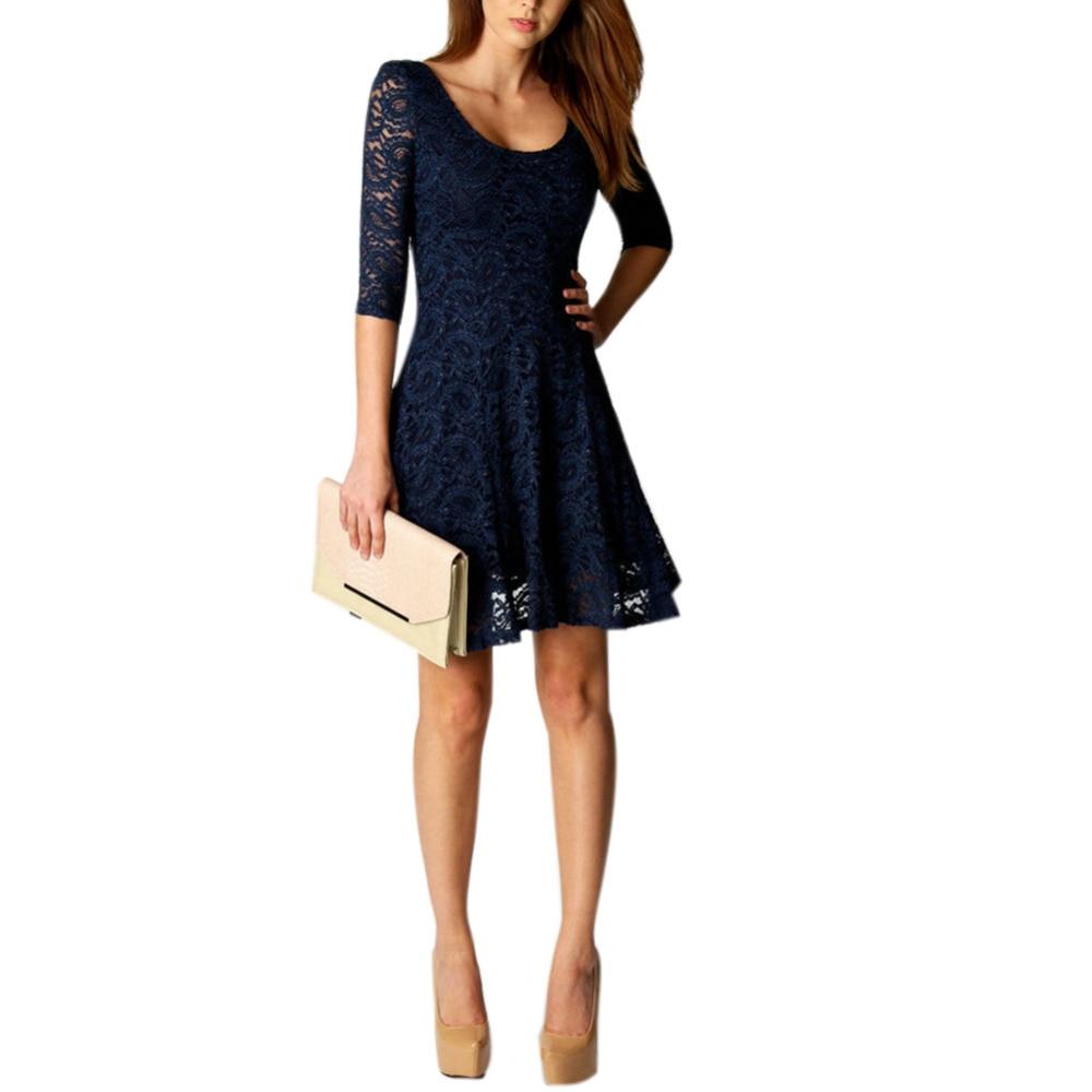 kanten jurk donkerblauw