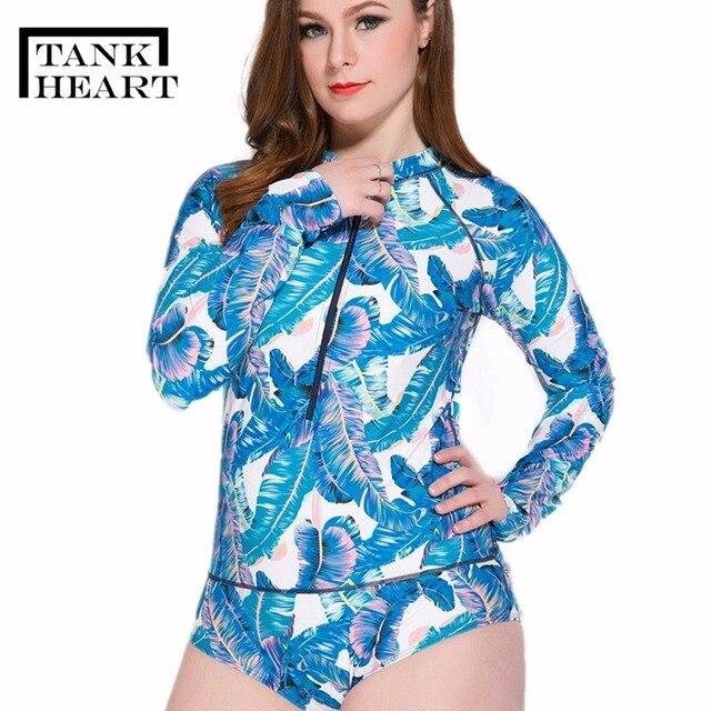 3400973895f Tank Heart Print Rash Guard Women Rashguard Lycra Surf Plus Size Swimwear  Women Long Sleeve Swimsuit