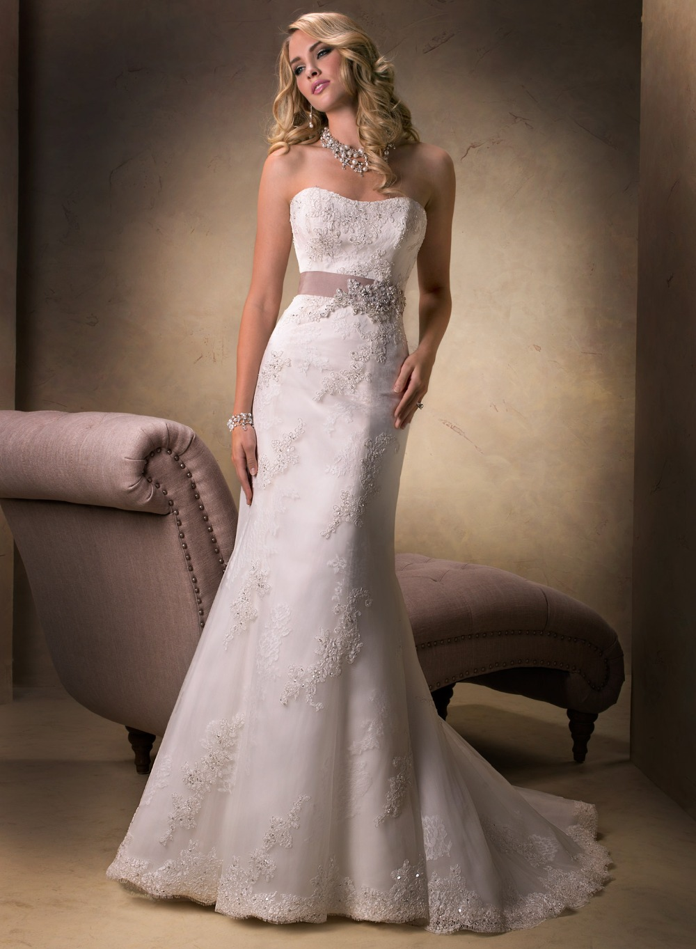 Country western beaded strapless lace wedding dresses fit for All lace fit and flare wedding dress