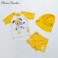 swimwear baby boy yellow cartoon dog print short sleeve children's swimwear kids swim costume for a boy toddler bathing suit