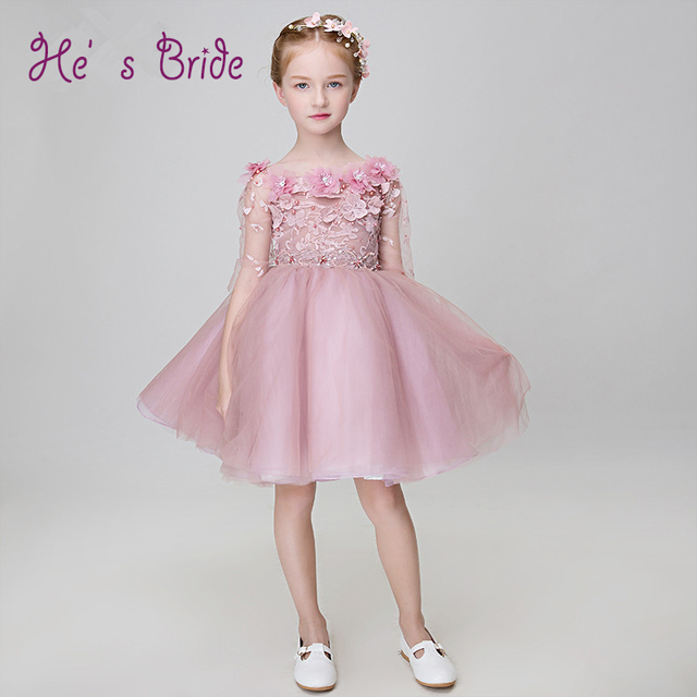 14dfd3245b 2017 New Arrival Cameo Brown Scoop Neck Lace Up Back Flowers Flowers Girl Dress  Modern Sweet Lovely Prom Flower Girl Dress