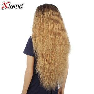 Image 2 - 30 インチ合成かつらブロンド赤黒オンブルアフロかつらのためのカーリーブロンド茶色髪の女性ウィッグ販売