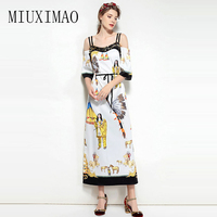 2018 Spring New Arrival Strapless Half Sleeve Character Printed Sequined A Line Casual Elegant Ankle Length Long Dress Women