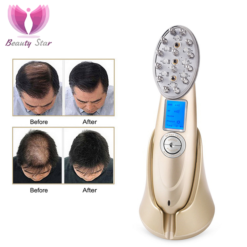 Beauty Star Laser Hair Regrowth Comb RF EMS Nurse LED Photon Scalp Massage Hair Regrowth Stimulate