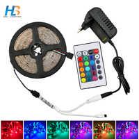 HBL 5 M 10 M LED bande de lumière Non étanche Diode bande 15 M 20 M 2835 RGB LED bande ruban DC 12 V adaptateur + IR LED rgb à distance ensemble complet