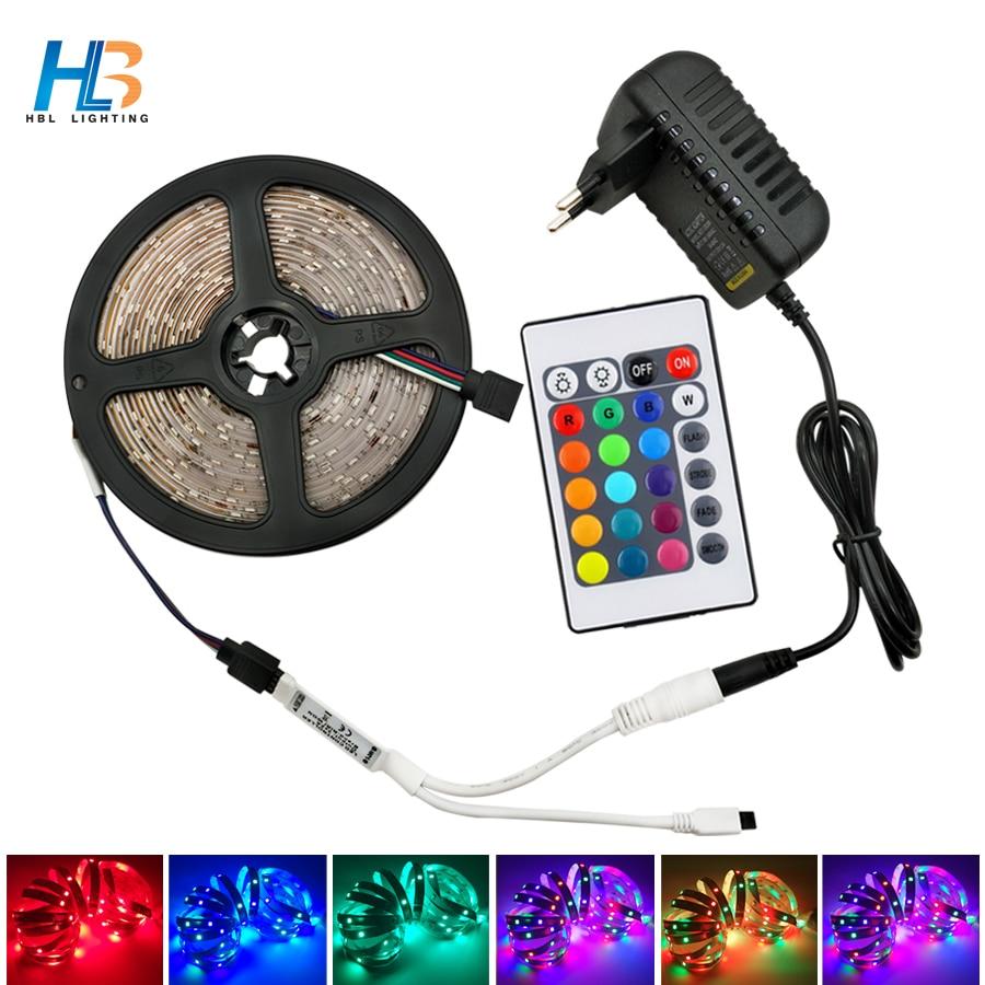 HBL 5M 10M LED Strip Light Non Waterproof Diode Tape 15M 20M 2835 RGB LED Strip Ribbon DC 12V Adapter+IR Led Rgb Remote Full Set