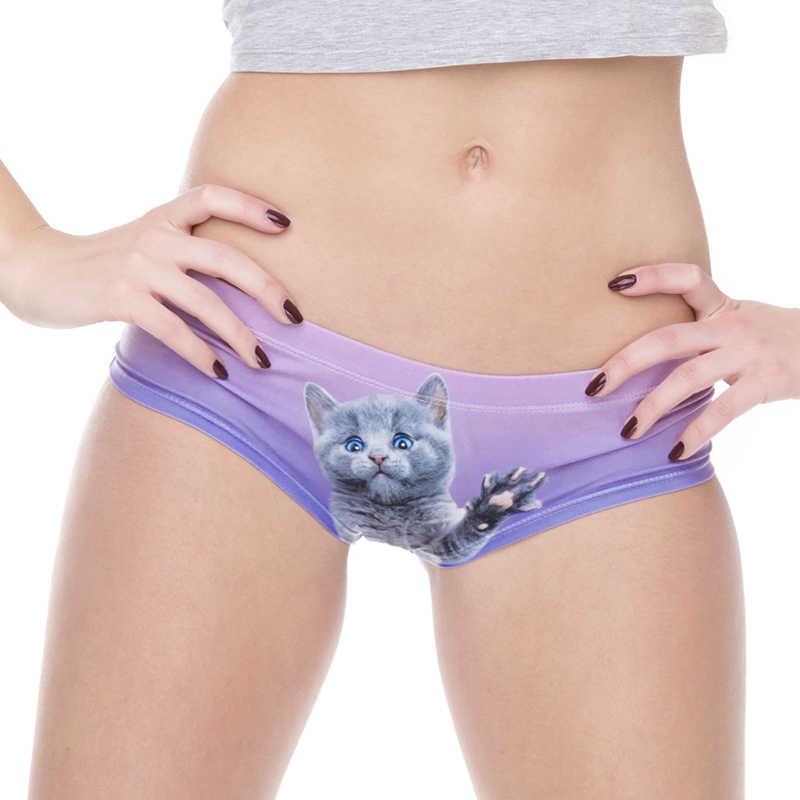 19ff71cc2b3e sexy cat panties 3D Printing hello kitty purple Sexy Women's Briefs Thong  Bragas Culotte Femme Sexy