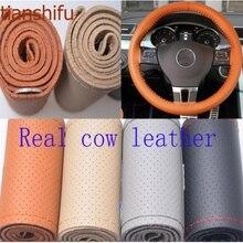 Real Genuine Cowhide Leather 3 Sizes 4 Colors Steering Wheel Cover decorative racing steering wheel