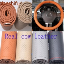 Real Genuine Cowhide Leather 3 Sizes 4 Colors Steering Wheel Cover decorative racing steering wheel Free shipping