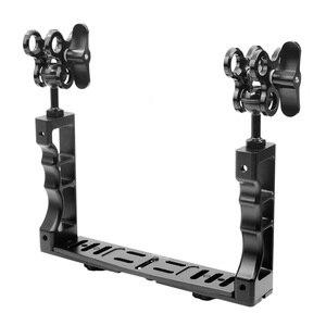 Image 3 - Sistema de brazo de luz subacuática CNC para buceo soporte de bandeja de Triple abrazadera, mango estabilizador de agarre para Video Gopro DSLR Cam Torch