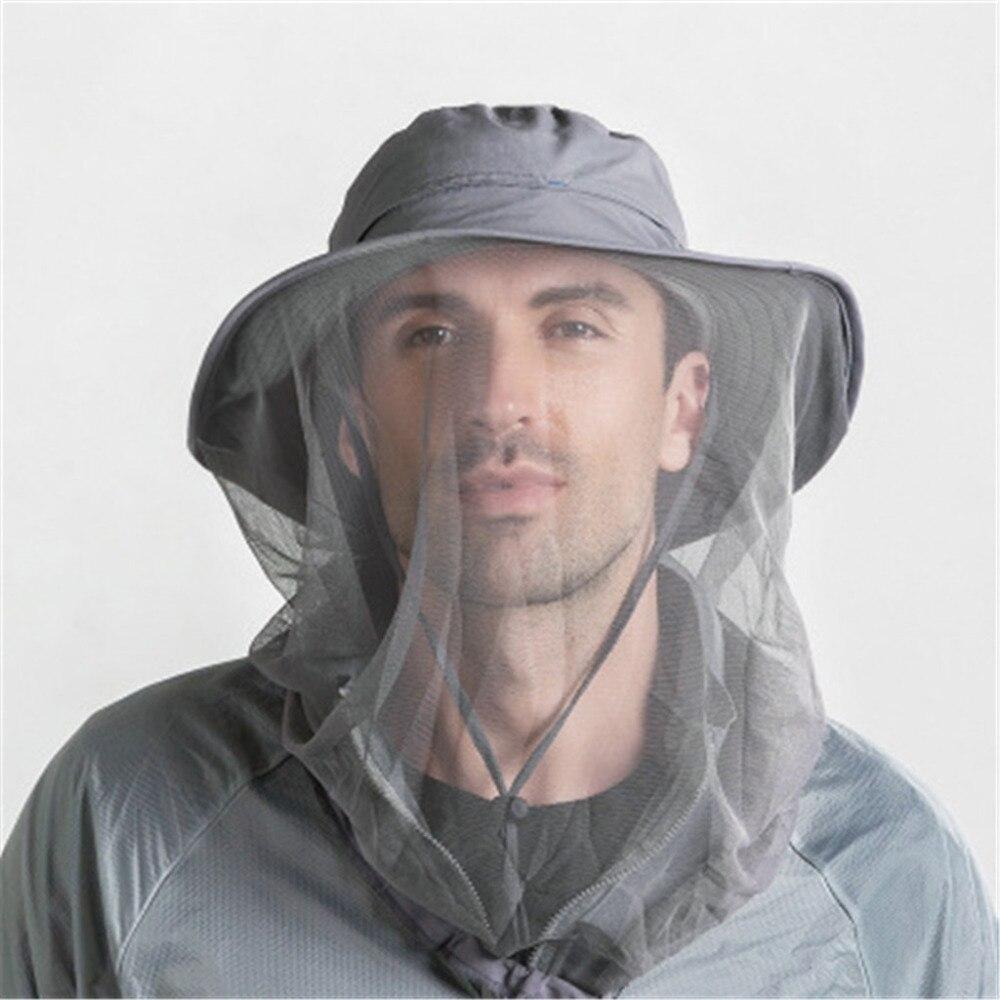 Summer Fishing Mountaineering Cap Unisex Outdoor Mosquito Head Net Hat Safari Bucket Sun Visor Hat Men With Hidden Net Mesh Cg