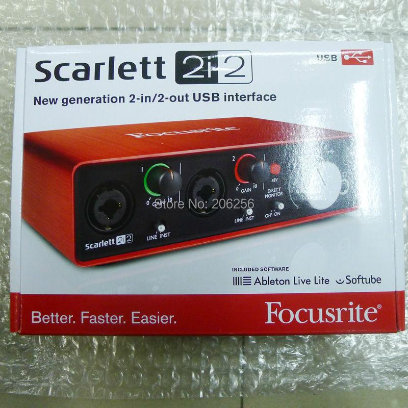 Prix pour 2017 Nouveau FOCUSRITE Scarlett 2i2 (2ème génération) 2 en/2 sortie USB 2.0 Guitare enregistrement audio interface USB2.0 carte son livraison gratuite