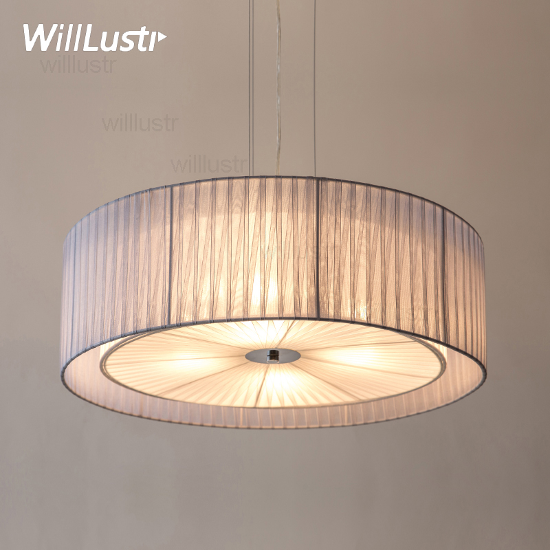modern round fabric pendant lamp nordic home bedroom hotel dinning room restaurant loft bar cafe cloth shade drum pendant light wrought iron nordic home modern pendant lamp with led bulbs home decoration lighting dinning room light cafe bar lamp