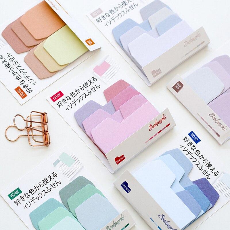 Купить с кэшбэком Gradient colors index paste memo pad planner sticky note paper sticker kawaii stationery pepalaria office 60 pages