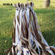 Hot Selling 50pcs/lot Jute ribbon wands with sliver bell for wedding decoration