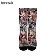 Jackherelook Women Men Comfortable Sport High Knee Socks Cartoon England Boston Terrier Print Stocking Cotton Professional