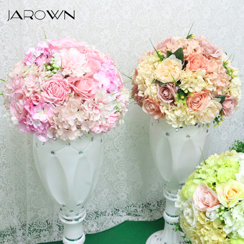 JAROWN Artificial 36cm Flower Ball Simulation Rose Hydrangea Flowers Half Ball Wedding Desktop Decor Flores Roman