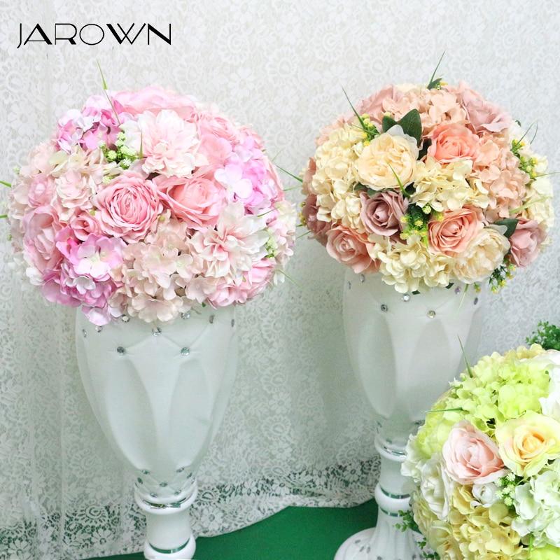 JAROWN เทียม 36 เซนติเมตรดอกไม้จำลองกุหลาบไฮเดรนเยียดอกไม้ครึ่งงานแต่งงานเดสก์ท็อปตกแต่งฟลอเรสโรมันคอลัมน์ตกแต่ง-ใน ดอกไม้ประดิษฐ์และดอกไม้แห้ง จาก บ้านและสวน บน AliExpress - 11.11_สิบเอ็ด สิบเอ็ดวันคนโสด 1