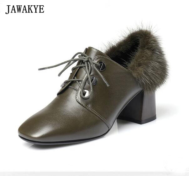 Fall winter army green black fur ankle boots women high quality leather chunky high heels pumps square toe shoes Zapatos mujer