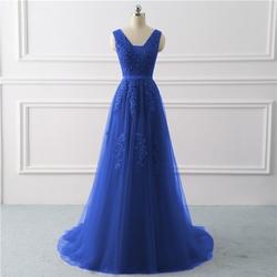 Королевского синего цвета вечерние платье Большие размеры Длинные 2019 линии Формальные Вечерние платья с кружевной аппликацией платье на