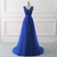 Robe De soirée bleu Royal grande taille longue 2019 une ligne formelle robes De soirée appliques dentelle robe De bal robe De mariée Vestido De noiva