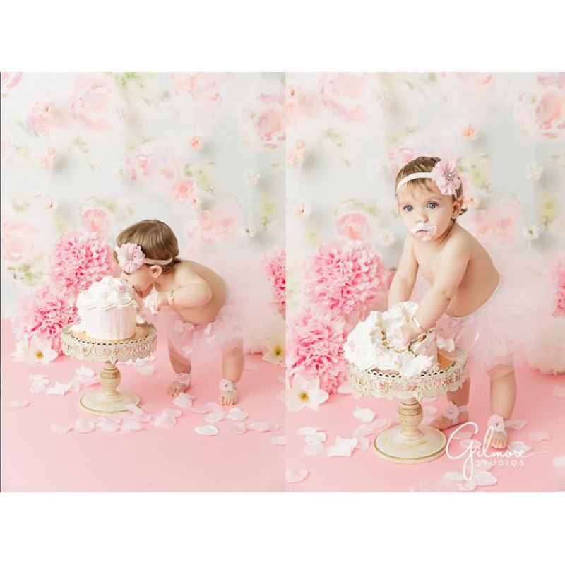 Vinyl Photography Background Newborn Birthday Pink Flower Pattern Children Fotografia  Backgrounds For Photo Studio LV-456