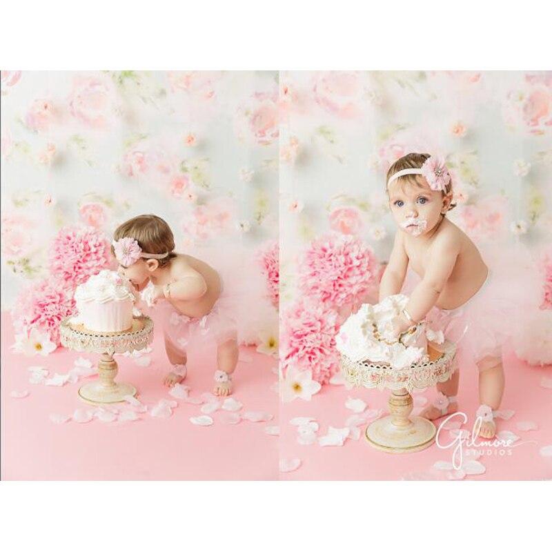Fotografia vinil pano de Fundo Recém-nascidos Aniversário Cor De Rosa Padrão de Flor Crianças Fotografia Fundos para Estúdio de Fotografia LV-456