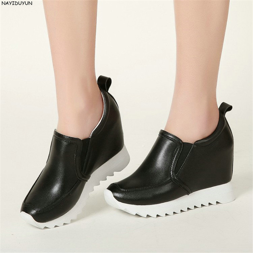 NAYIDUYUN Women Casual Shoes Low Top Platform Wedge High Heels Boots Round Toe Slip On Pumps Punk Chic Shoes Black White Sneaker nayiduyun summer wedge high heels women casual platform pumps round toe breathable summer sneakers sandals school shoes chic