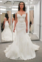 Custom Made Vestido De Novia Satin Applique Beading Strapless Short Sleeve Lace Mermaid Wedding Dress Bridal Gown
