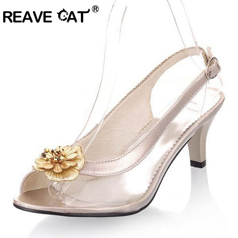 REAVE CAT Big Size 30-46 Brand New Summer Women sandals mid heels Pump  Solid Peep toe Flower Patent Leather Black gold QL4501 6566a89e0a59