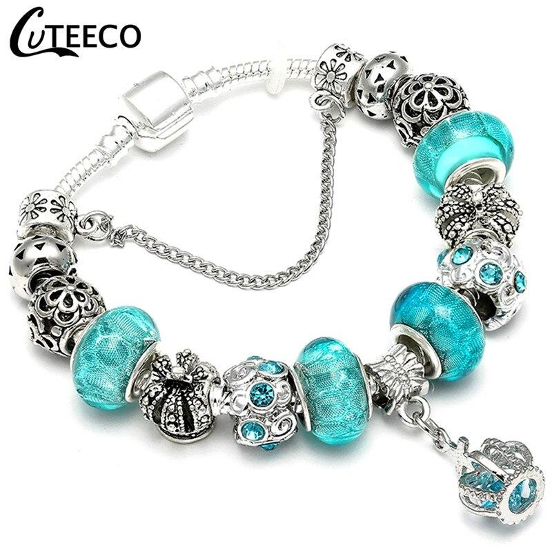 CUTEECO 925, модный серебряный браслет с шармами, браслет для женщин, Хрустальный цветок, сказочный шарик, подходит для брендовых браслетов, ювелирные изделия, браслеты - Окраска металла: AE037