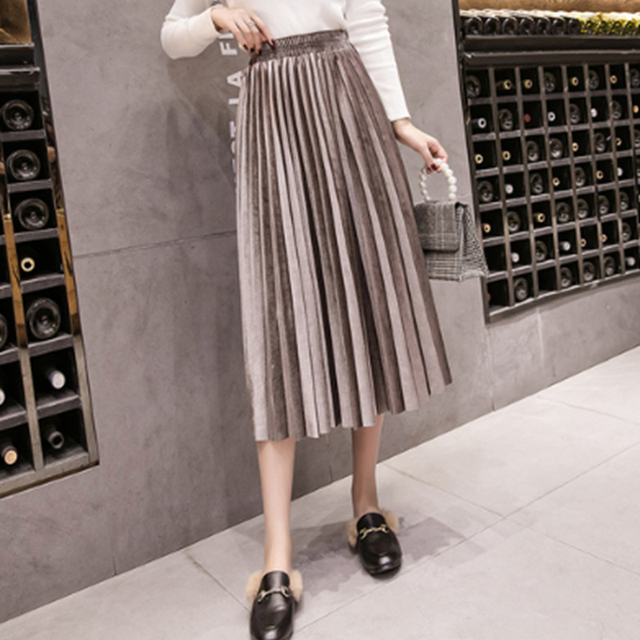 Autumn Winter Velvet Skirt High Waisted Skinny Large Swing Long Pleated Skirts Metallic Plus Size 3XL Midi Saia 4