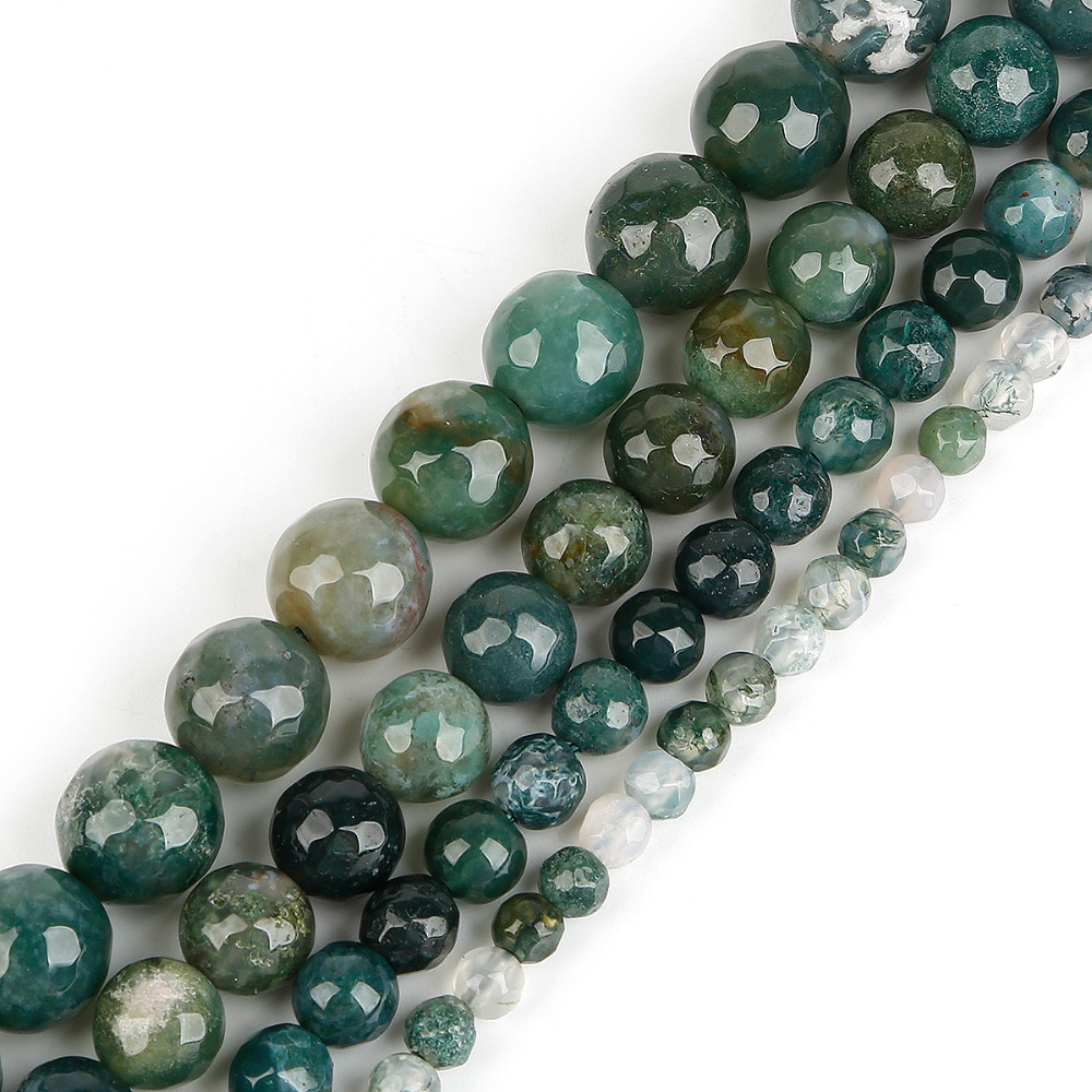 8e8c022158 US $2.32 10% OFF|2018 Fashion Natural Dyed Moss A gate Faceted Round Ball  Beads for DY Necklace Jewelry Making Pick Size 4 6 8 10 mm Wholesale-in ...