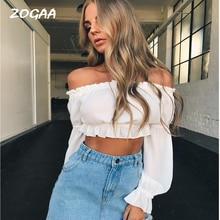 ZOGAA Strapless Shoulder Puff Ruffles Sleeve Tee T Shirt Chiffon Women Sexy Half blouse Elegant Partywear Female T-shirts