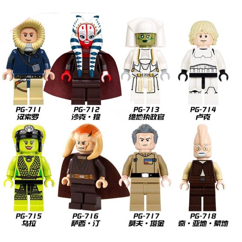 Single Sale Star Wars Oola Shaak Ti Jedi Consular Han Solo Luke Skywalker Grand Moff Tarkin Building Blocks Bricks Toys  PG8051