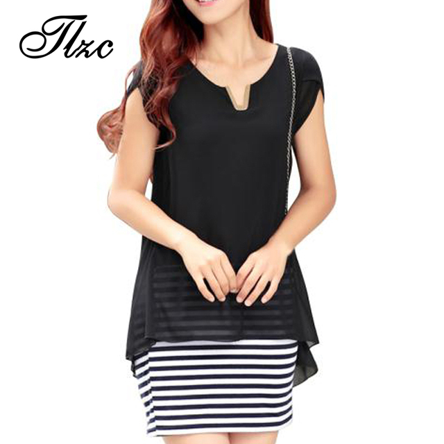 Brief Style Women Black & Striped Shirt Dress Plus Size XL-3XL One Piece Chiffon & Cotton Patchwork Lady Fashion Dresses