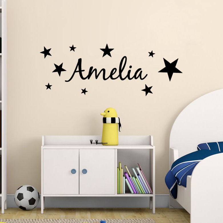 Stars Pattern Kids Personalized Name Bedroom Vinyl Wall Decor Removable Art Wallpaper for Kids Nursery Room Wall Decal