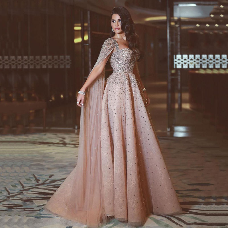 Amazing Dusty Pink Long Evening   Dress   Heavy Beading Tulle   Prom     Dresses   A Line Long Sleeve Dubai Arabic Formal Gown Abendkleider