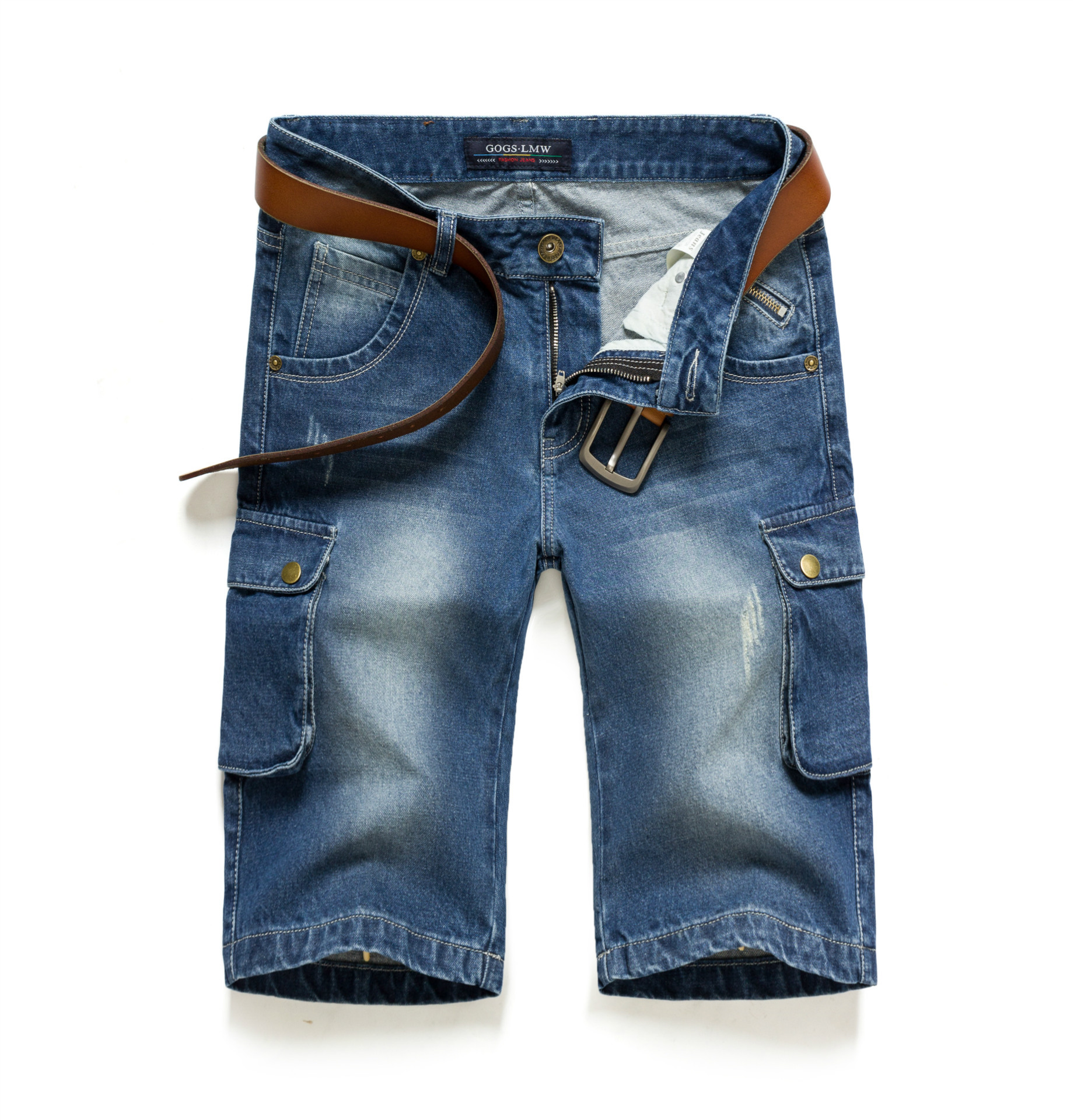 57fe3d46e226 2016 sommer Herren Baumwolle Denim Shorts Distressed Jeans Ripped Capris  Mulit Taschen   Nähte Beiläufige Kurze Bermuda L5813 in 2016 sommer Herren  ...