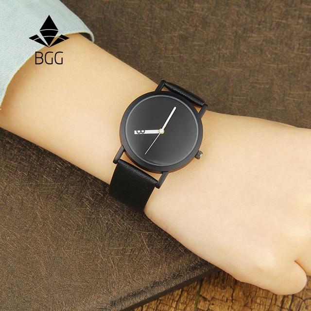 2017 новая мода Креативный дизайн наручных часов BGG бренд специальные сменные номер часовая стрелка простой дизайн кварцевые часы черный