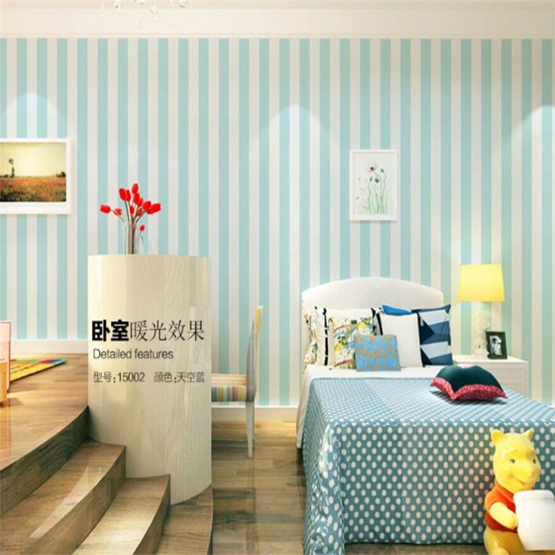 Beibehang Simple blue and white vertical stripes, Mediterranean-style  backdrop bedroom children's room wallpaper for walls 3 d beibehang shop for living room bedroom mediterranean wallpaper stripes wallpaper minimalist vertical stripes flocked wallpaper