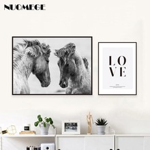 Wall Art Horse Canvas Poster And Print Nordic Style Modern Landscape Painting Minimalist Letter Wall Picture For Home Decoration