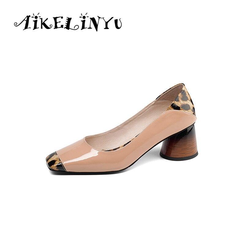 AIKELINYU Genuine leather fashion sexy women high heel shoes Office Lady Pumps leopard pattern splicing Party Women kitten heels