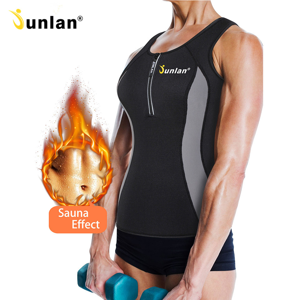 Junlan Women Bodysuit Sauna Vest Neoprene Tummy Control Waist Trainer Hot Shapewear Tops Corset Corrective Modeling Strap Shaper