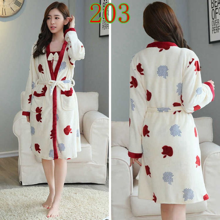 2PCS Sexy Thick Warm Flannel Robes Sets for Women 2018 Winter Coral Velvet Lingerie Night Dress Bathrobe Two Piece Set Nightgown 249