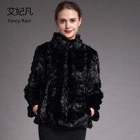 Black Mandarin Collar Mink Fur Coat Winter Warm Women Natural Real Fur Coat Female 2018 Fashion New Genuine Mink Fur Coat&Jacket
