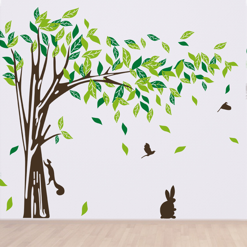 New Wall Decor Giant Tree Wall Sticker Green Lifesize Trees Wall ...