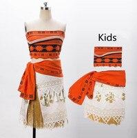 Women Kids Movie Moana Princess Dress Cosplay Costume Skirt Christmas Party