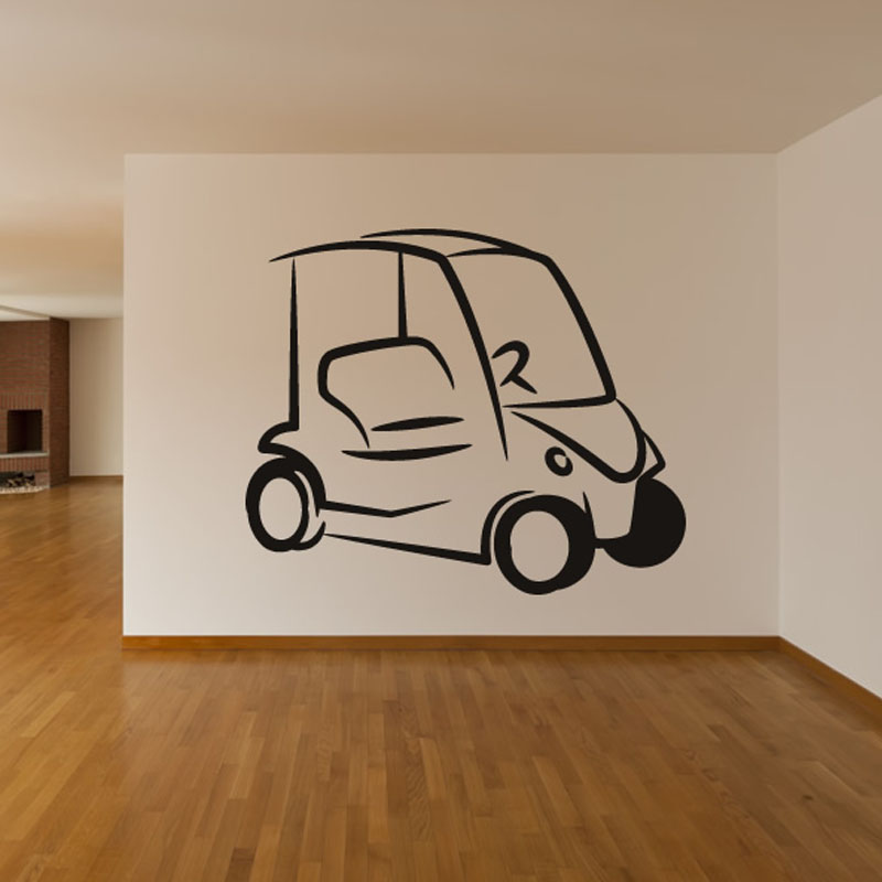 Simple Design Golf Cart Wall Sticker Living Room Art Vinyl Removable Home Decor Wall Decal